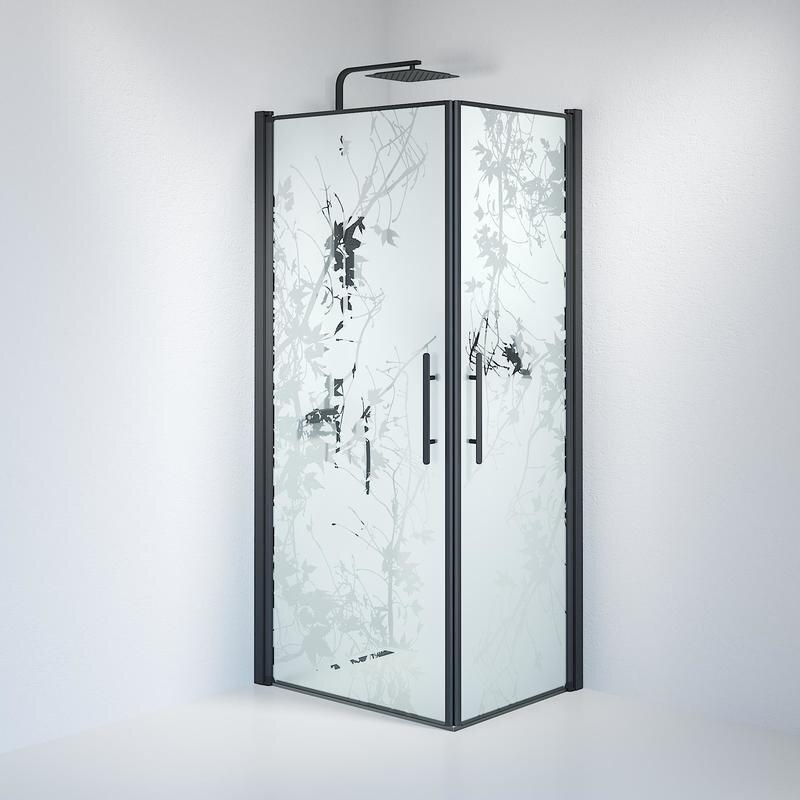 Billede af Fjäll brusedør 70x90 cm deco glas sort