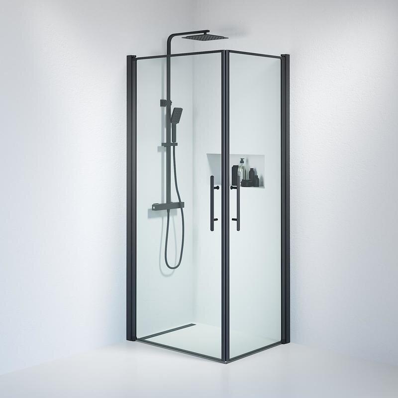 Billede af Fjäll brusedør 70x90 cm klar glas sort
