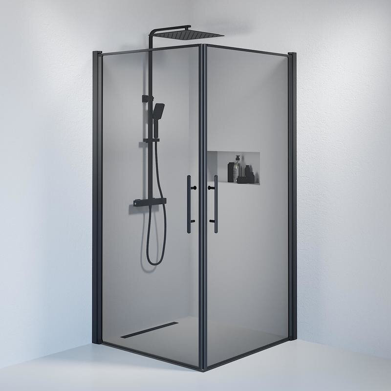 Billede af Fjäll brusedør 100 x100 cm røgfarvet glas sort
