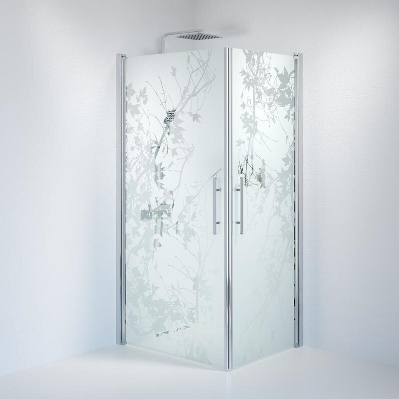Billede af Fjäll brusedør 80x100 cm deco glas krom