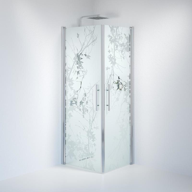 Billede af Fjäll brusedør 70x80 cm deco glas krom