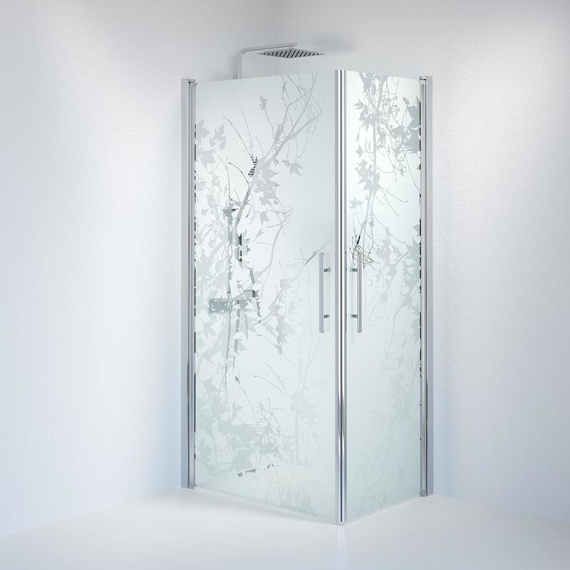 Billede af Fjäll brusedør 70x100 cm deco glas krom