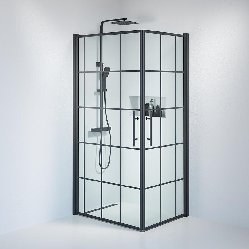 Billede af Fjäll brusedør 80x100 cm klar glas m/sprosser sort
