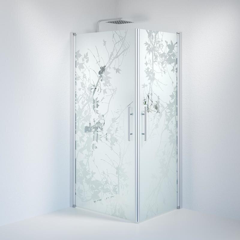 Billede af Fjäll brusedør 80x100 cm deco glas satin