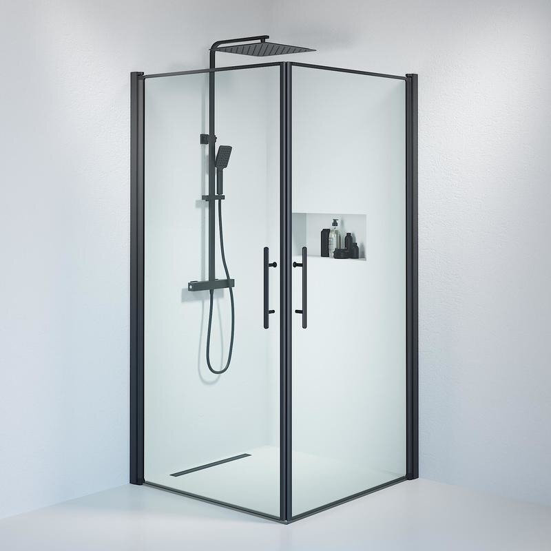 Billede af Fjäll brusedør 100 x100 cm klar glas sort