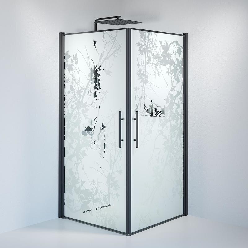 Billede af Fjäll brusedør 100 x100 cm deco glas sort