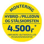 Standard montering af hybrid og pilleovn OBS: der afregnes direkte med montøren ¤ Vær OBS på betingelser for montering.