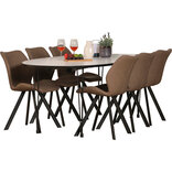 Belina spisebord med 6 brune Mille stole