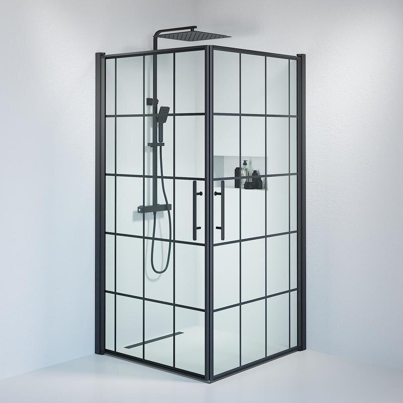 Billede af Fjäll brusedør 100 x100 cm klar glas m/sprosser sort