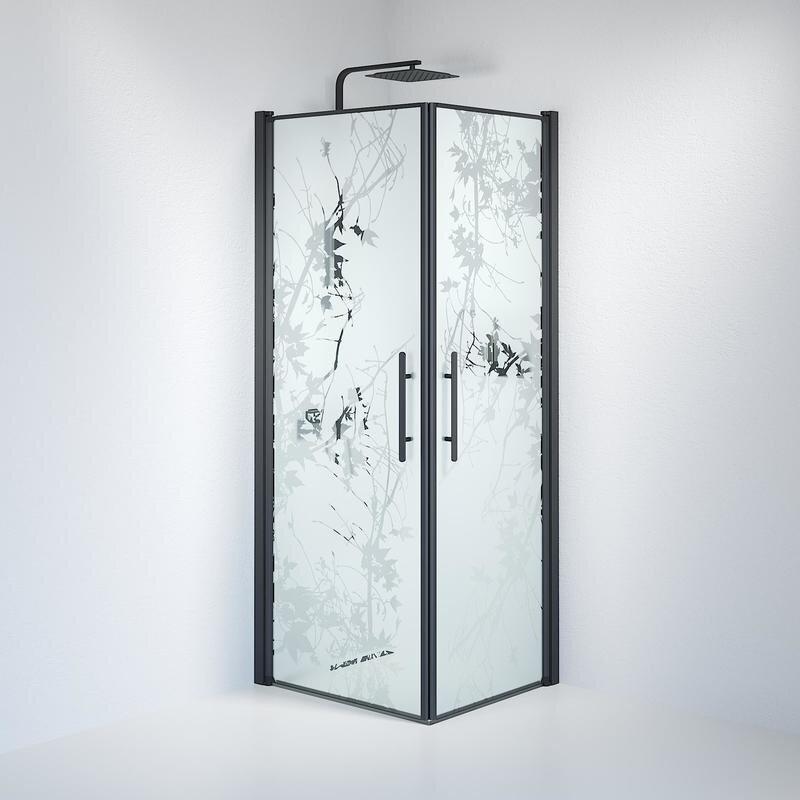 Billede af Fjäll brusedør 70x80 cm deco glas sort