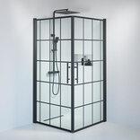 Fjäll brusedør 100 x100 cm klar glas m/sprosser sort ¤