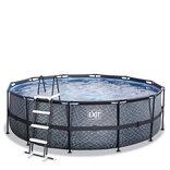 Exit frame pool stenlook med stige Ø450 x 122 cm (OBS: Læs beskrivelse vedr. fejl og mangler)