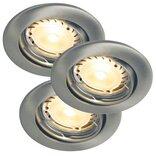 Nordlux Triton LED HI-POWER indbygningsspot 3-kit børstet stål ¤