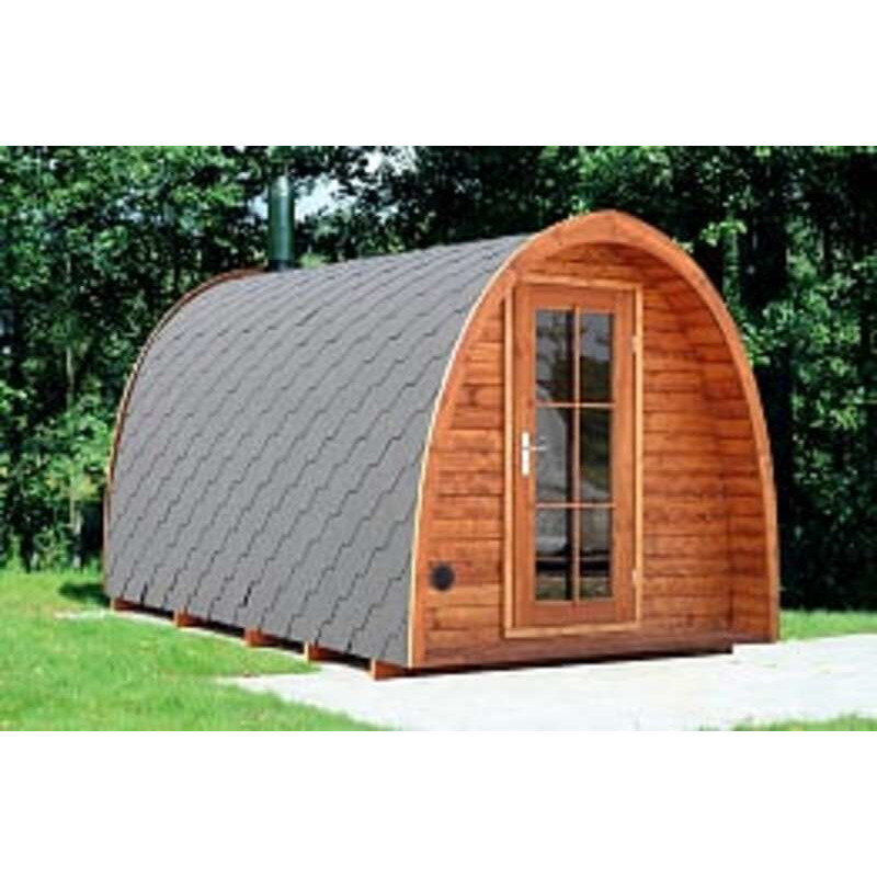 Udendørs saunahytte m/2 rum i teakfarve - 230x400 cm - træovn