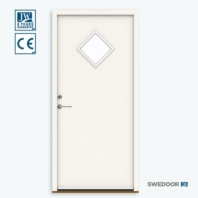 Swedoor P-900 yderdør m/glas 948x2115 venstrehængt hvid