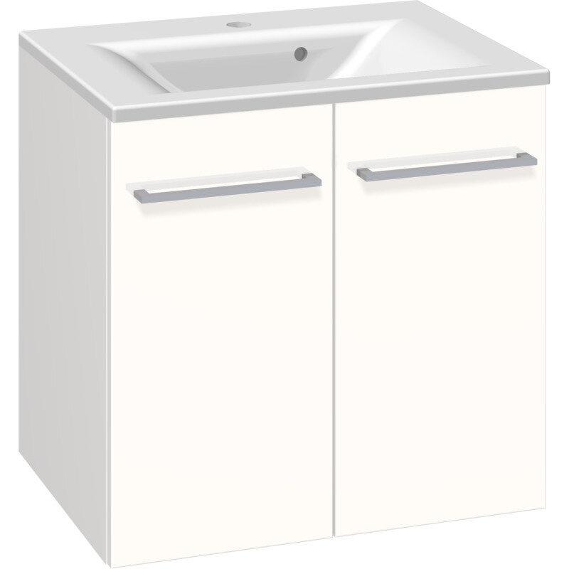 Scanbad Multo vaskeskab m. låger inkl. Mikado vask 60 cm hvid højglans