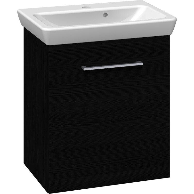 Scanbad Multo vaskeskab m. låge inkl Lotto vask 55 cm sort struktur