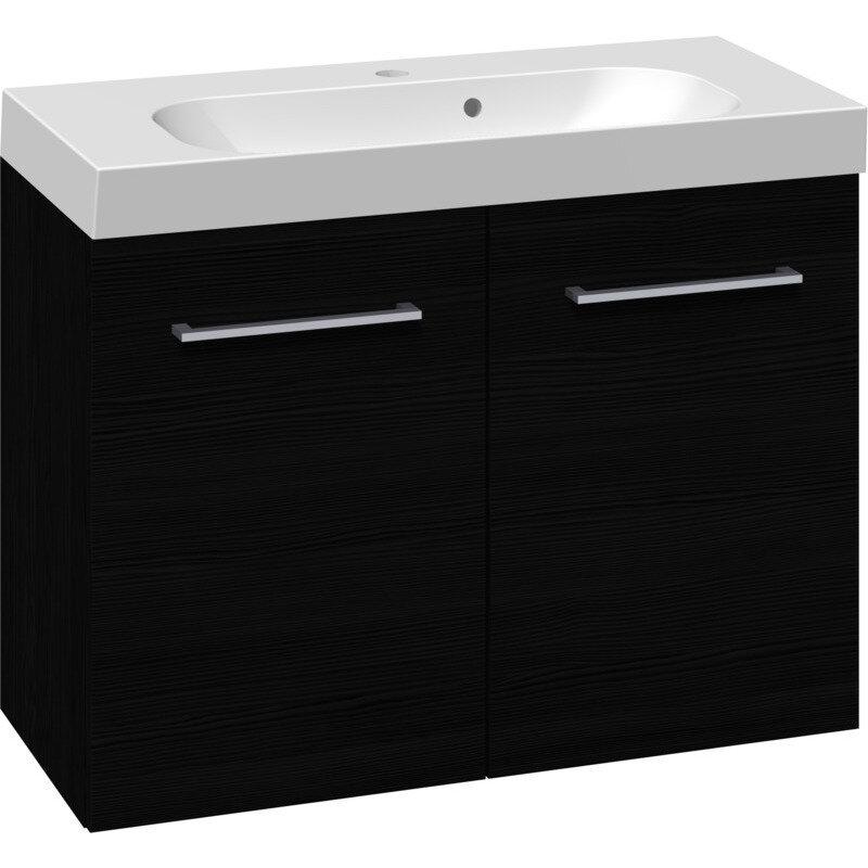 Scanbad Multo vaskeskab m. låger inkl. Uno vask 80 cm sort struktur