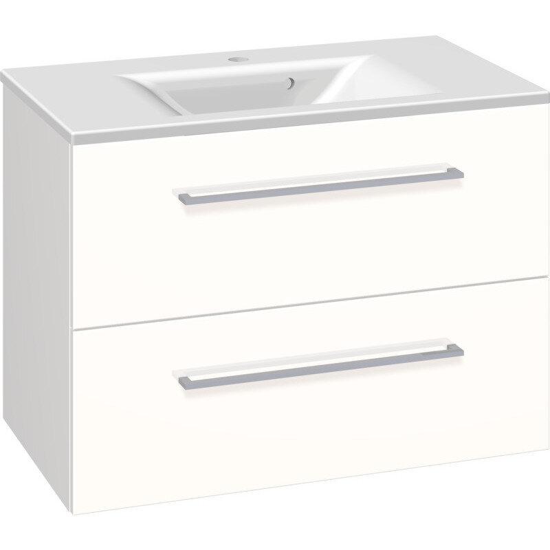 Scanbad Multo vaskeskab m. skuffer inkl. Mikado vask 80 cm hvid højglans