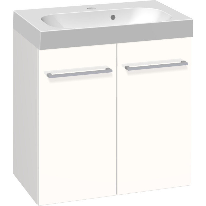 Billede af Scanbad Multo vaskeskab m. låger inkl. Uno vask 60 cm mat hvid