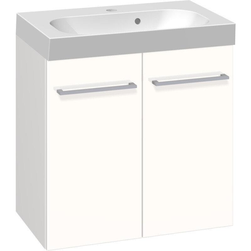 Scanbad Multo vaskeskab m. låger inkl. Uno vask 60 cm hvid højglans