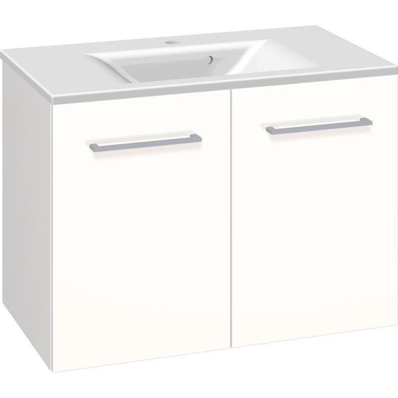 Scanbad Multo vaskeskab m. låger inkl. Mikado vask 80 cm hvid højglans