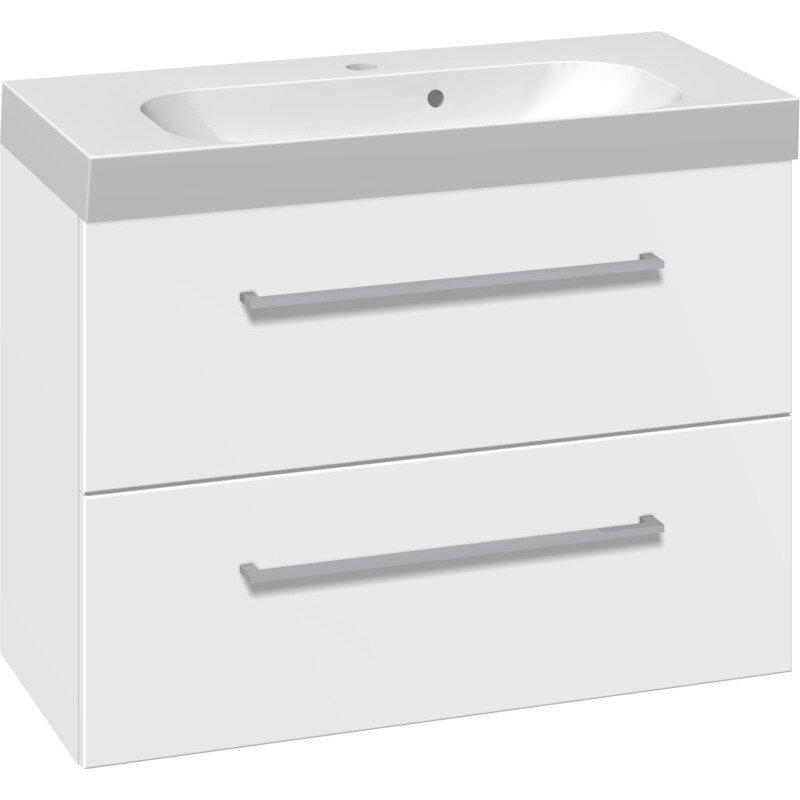 Billede af Scanbad vaskeskab med skuffer inkl. Uno vask 80 cm mat hvid