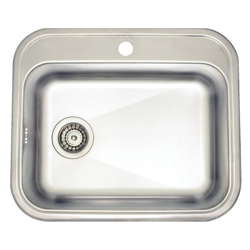 Stålvask mat rustfrit stål - 48x34 cm inkl. bagplade og strainer