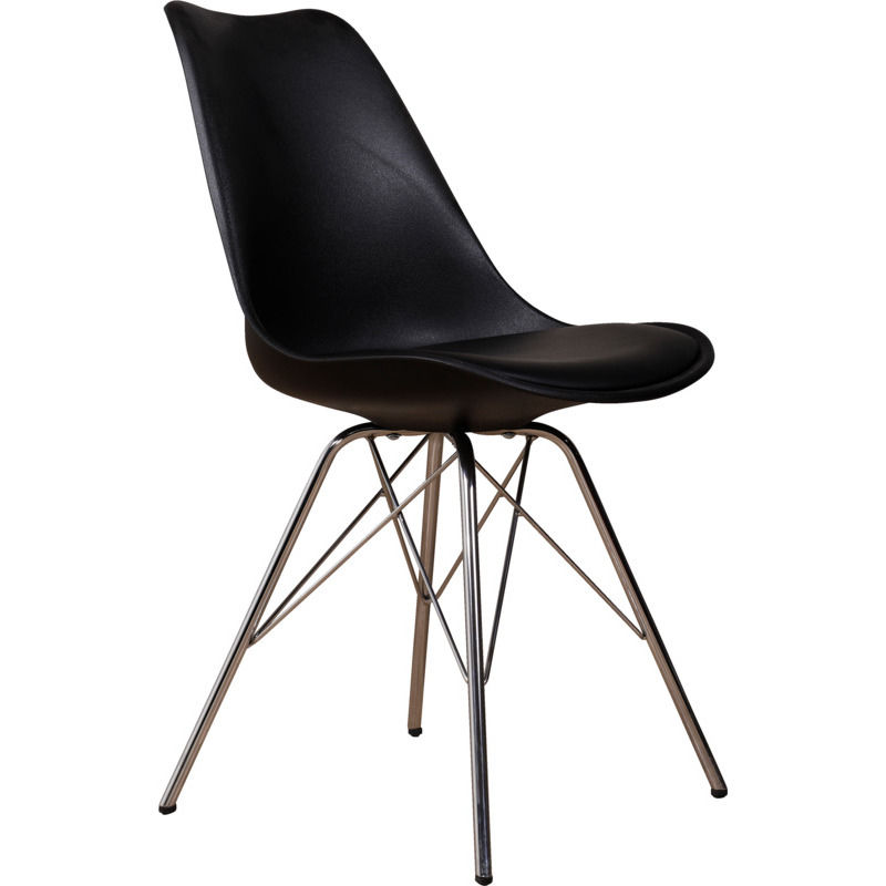 Venedig spisebordsstol sort med krom stel