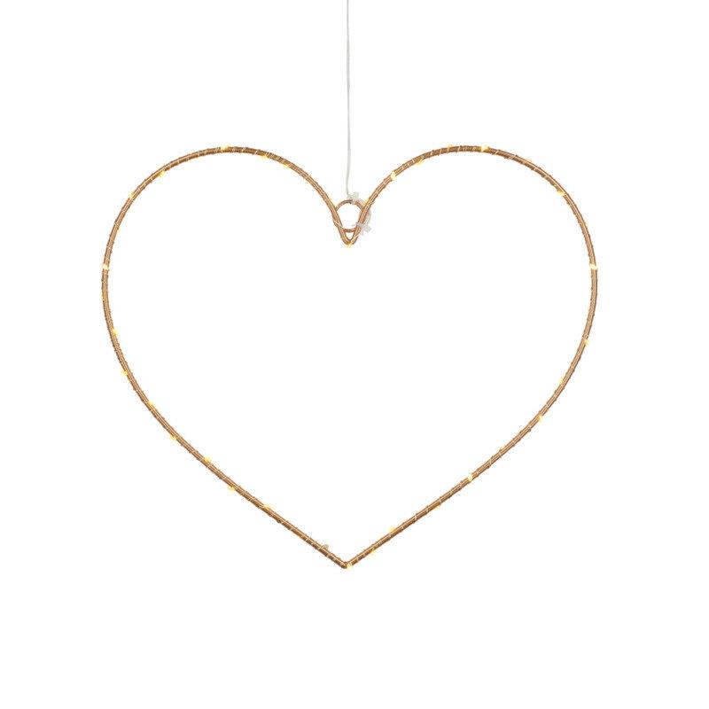 Sirius Liva julehjerte m/LED-lys guld
