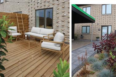 nybyggerne terrasse og forhave i det grønne hus