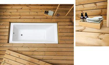træterrasse med indbygget badekar
