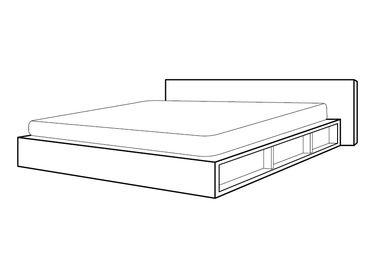 stregtegning af seng af egetræsbordplader