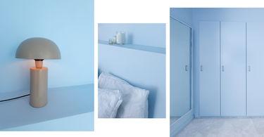 nybyggerne soveværelse med blå nuancer i det røde hus
