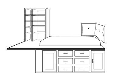 Stregtegning af seng med indbygget reol