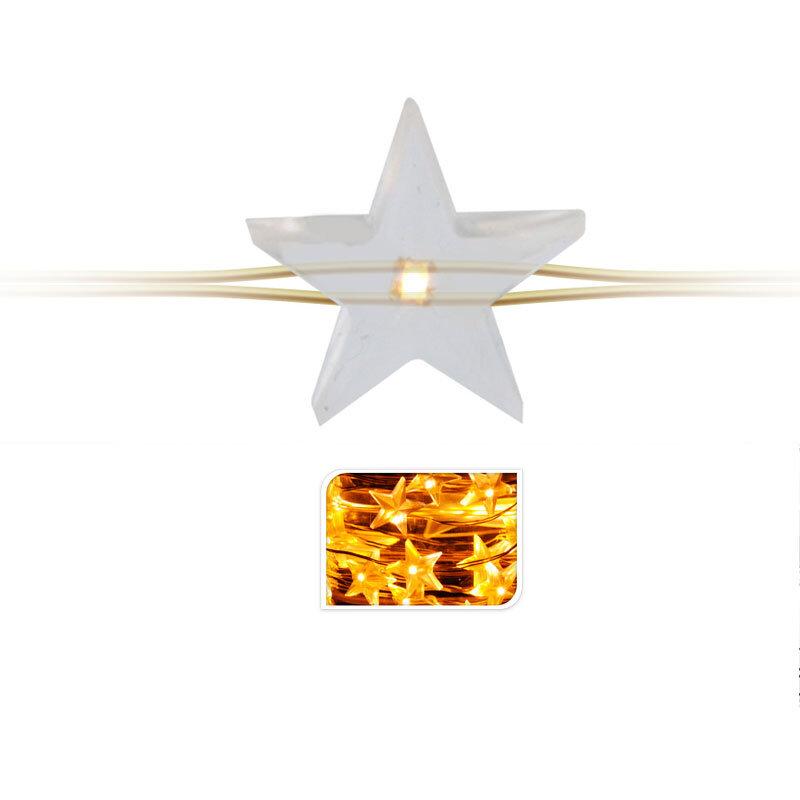 Indendørs batteri lyskæde guldwire 40 mikro stjerne LED-lys varm hvid