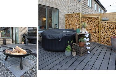 terrasse med bålfad og brændevæg