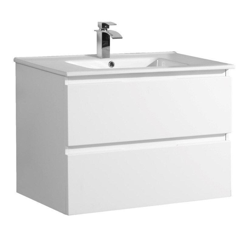 Badmøbel m/porcelænsvask og 2 skuffer 60 cm højglans hvid